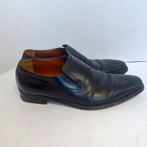a. testoni black leather dress shoes
